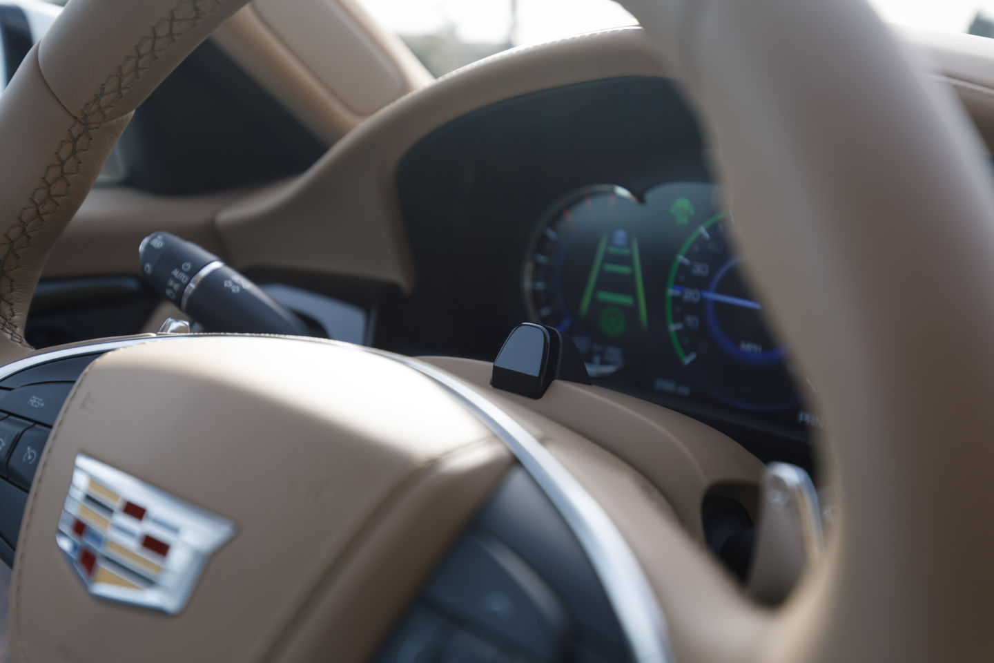 The driver attention system uses a small camera located on the top of the steering column and works with infrared lights to determine where the driver is looking whenever Super Cruise™ is in operation.